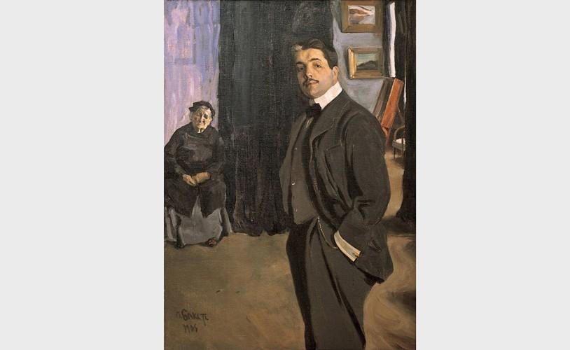 Лев Бакст «Портрет Сергея Павловича Дягилева с няней» (1905)