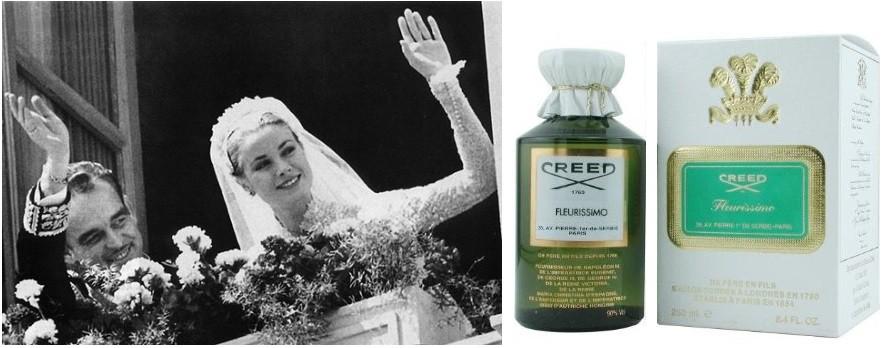 Свадьба принца Монако Ренье III и актрисы Грейс Келли и винтажный флакон Creed Fleurissimo
