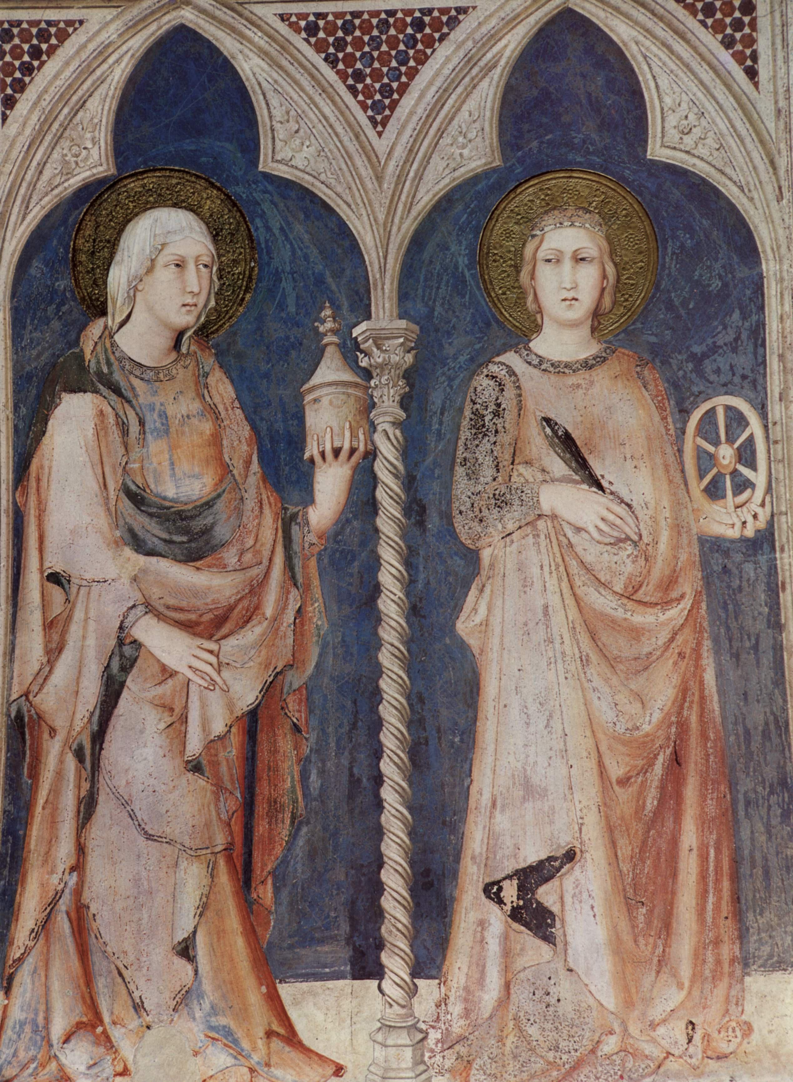 Симоне Мартини. Мария Магдалина и Екатерина Александрийская
